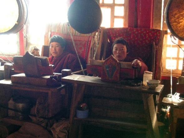 nuns sitting in their meditation box