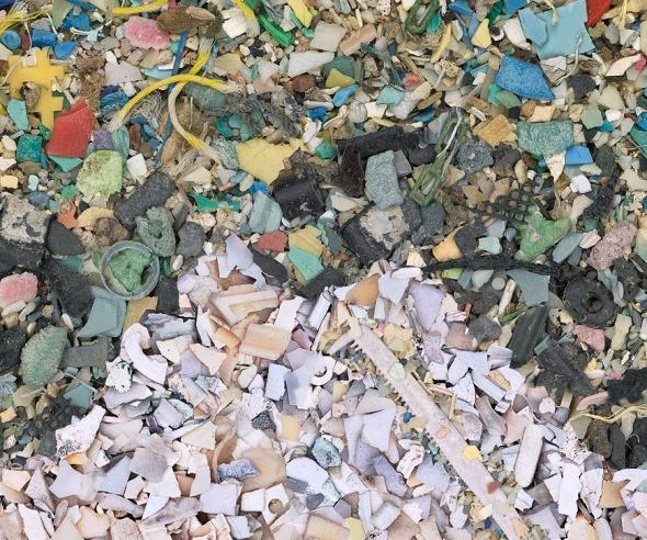 close up of trash mosaic