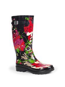 flower power rain boot
